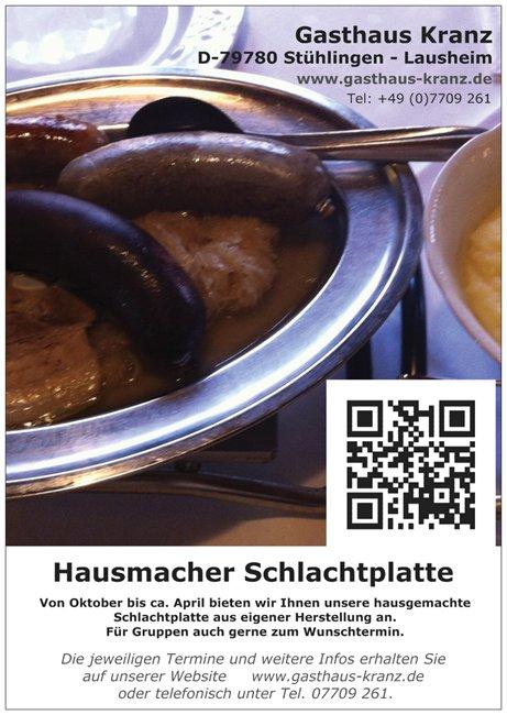Hausmacher Schlachtplatte Gasthaus Kranz, Lausheim